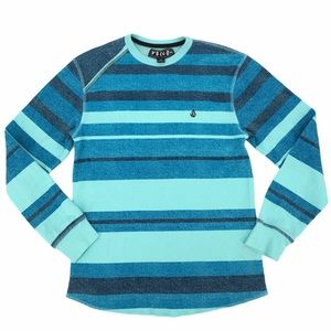 Volcom Blue Striped Long Sleeve Thermal Size Small